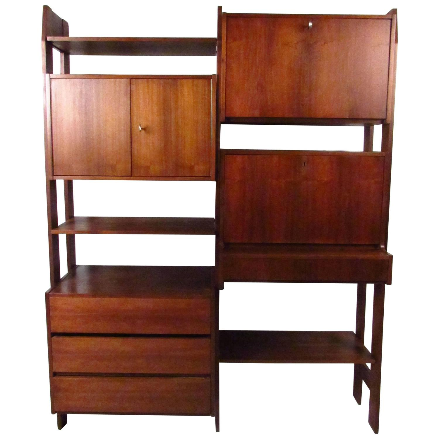 Midcentury Wall Unit With Drop Down Writing Desk For Sale