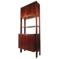 Mid-Century Modern Freestanding Bookshelf with Cabinet