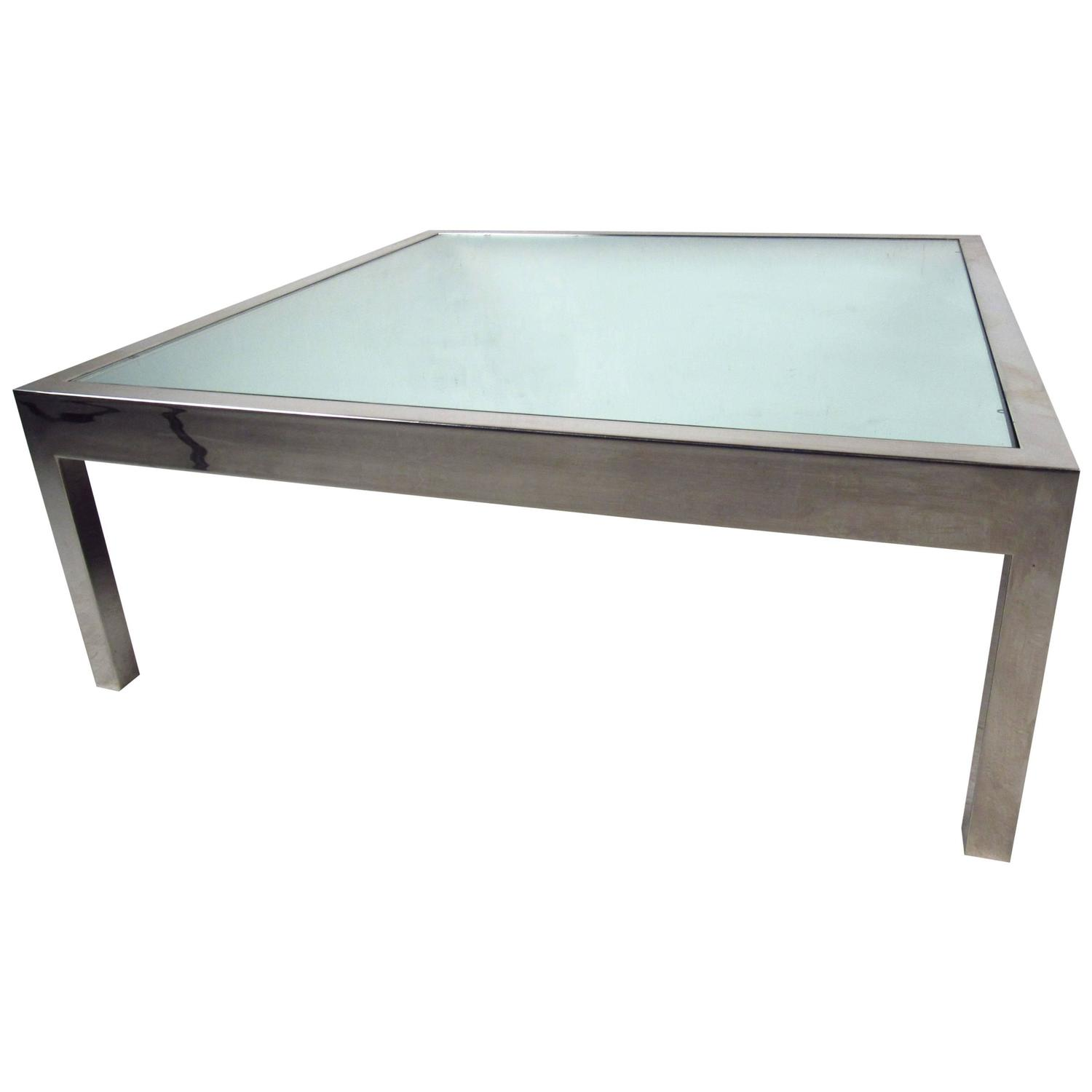 Unique Midcentury Mirrored Glass And Chrome Coffee Table For Sale At 1stdibs
