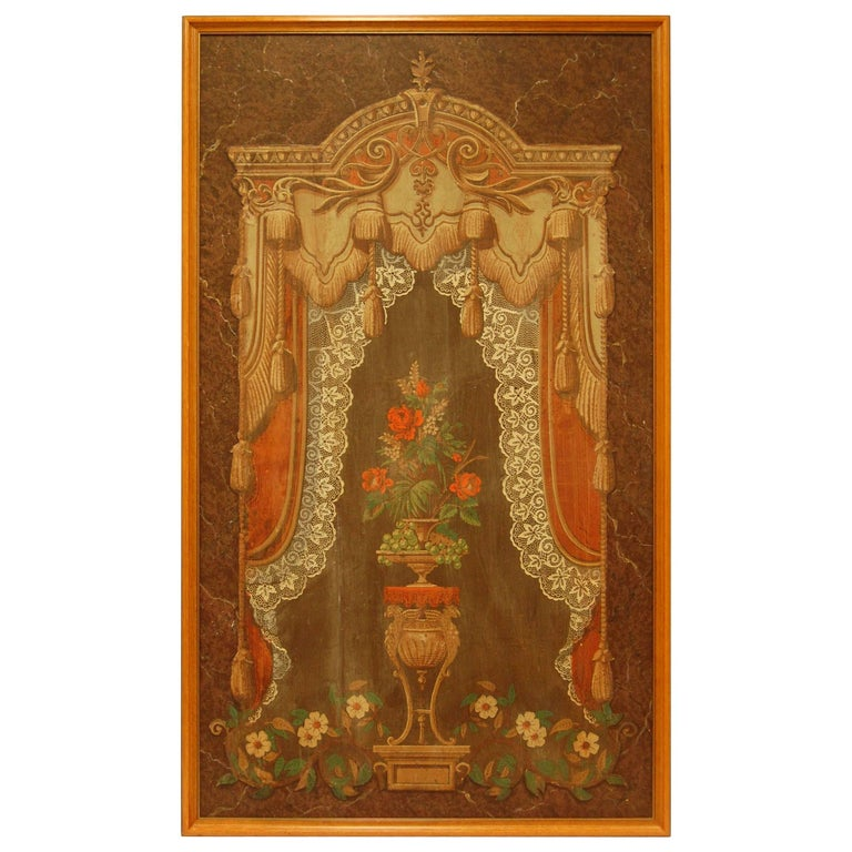 """Mid-19th Century """"Curtain Paper"""" Mounted and Framed For Sale"""