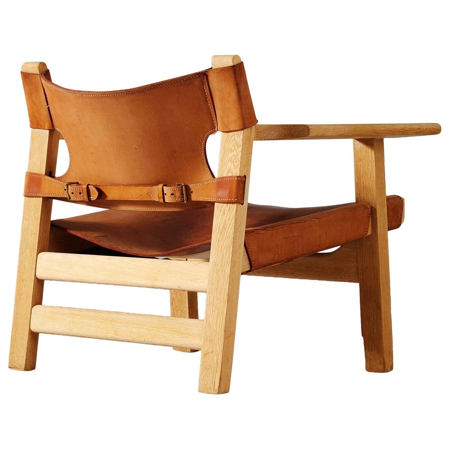 b rge mogensen 39 spanish chair 39 in solid oak and cognac. Black Bedroom Furniture Sets. Home Design Ideas