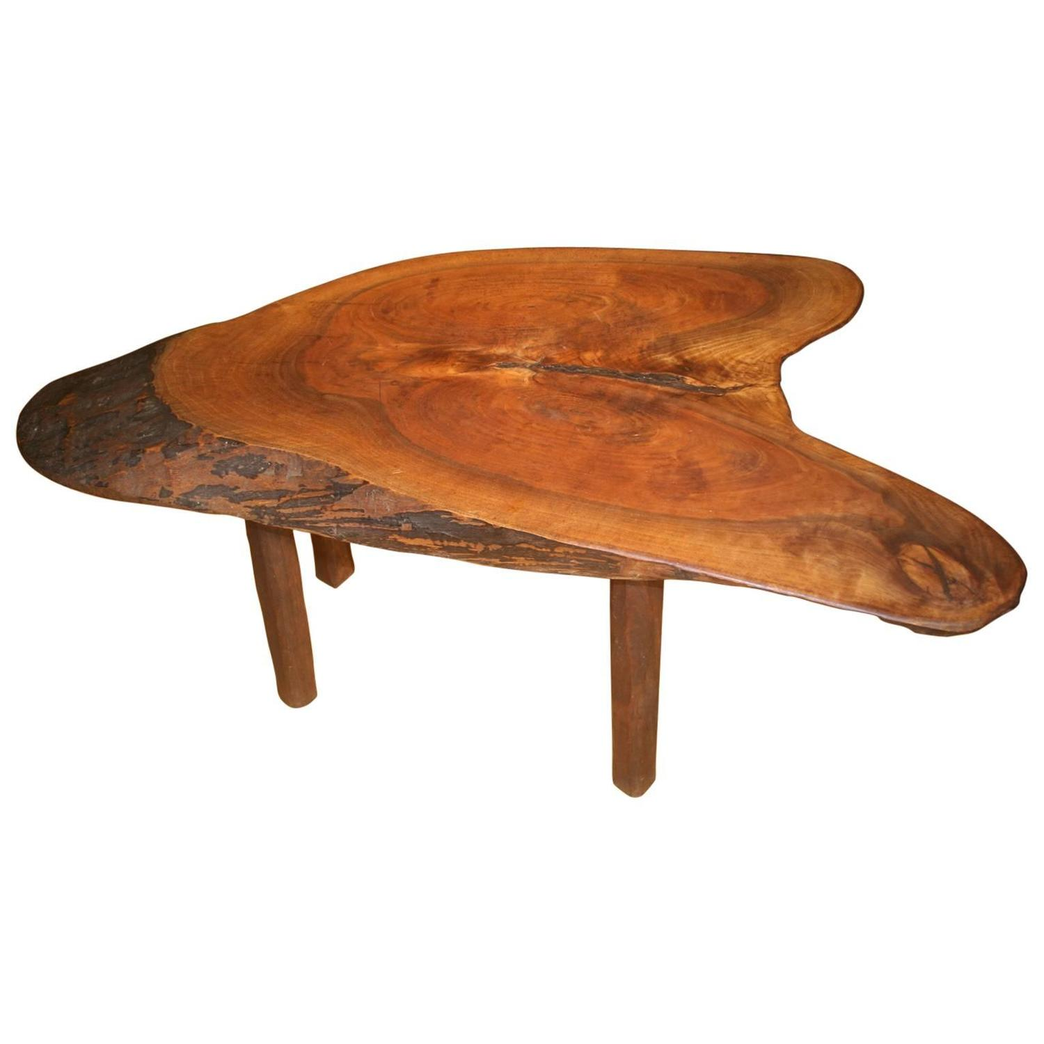 Natural form tree trunk coffee table at 1stdibs Trunk coffee tables