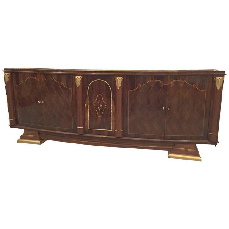 French Art Deco Walnut Five-Door Buffet
