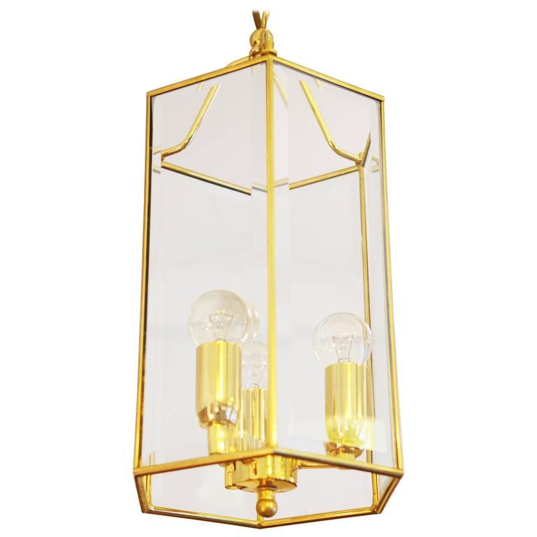 Brass Faceted Glass Pendant Lantern