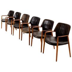 Set of Six Teak Black Leather Armchairs for Fritz Hansen