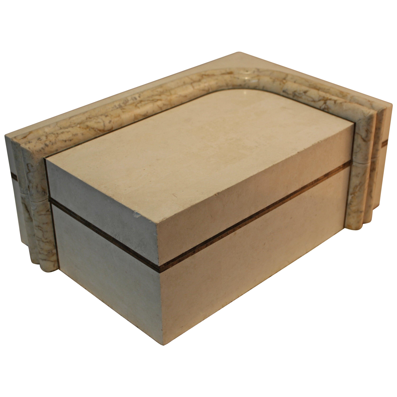 Maitland Smith Tessellated Stone and Brass Box