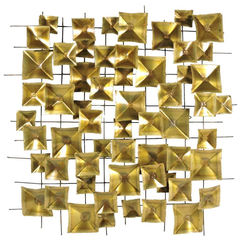 Mid-Century Brutalist Geometric Brass and Metal Wall Sculpture at ...