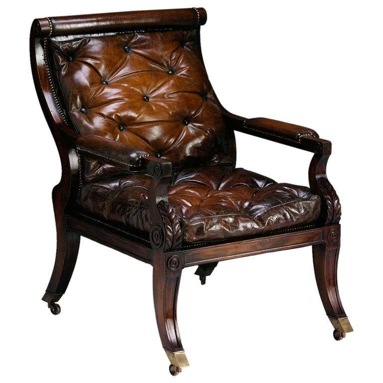 Sabre Leg Library Chair in the Regency manner