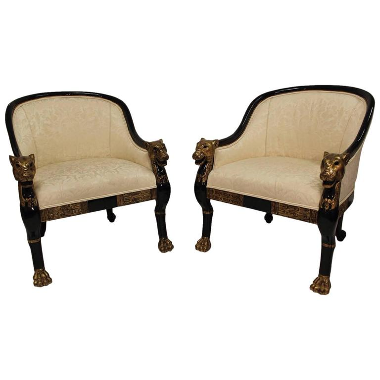 Pair Of Hollywood Regency Style Panther Chairs At 1stdibs