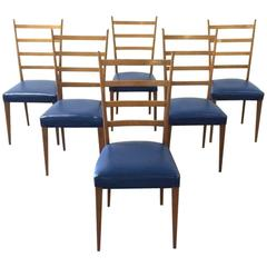 Set of Six Gio Ponti Style Signed Italian Ladder Back Dining Chairs