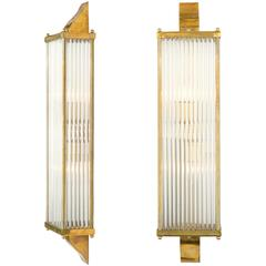 Murano Glass and Brass Pair of Wall Sconces