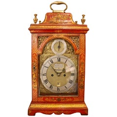 George II Parcel-Gilt Scarlet-Japanned Chinoiserie Table Clock by William Creak