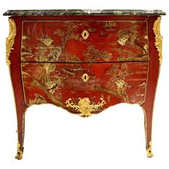 Louis XV Style Early 19th Century Red Lacquer Commode with Chinoiseries Scenes