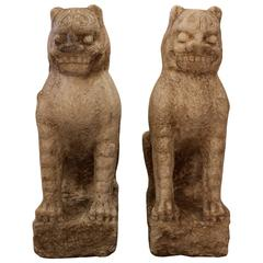Pair of Chinese Buddhist Carved Stone Guardian Lions from the Ming Dynasty