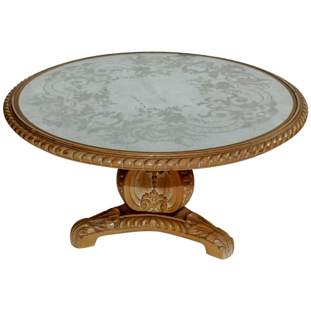 Painted Coffee Table Round Blue Marble