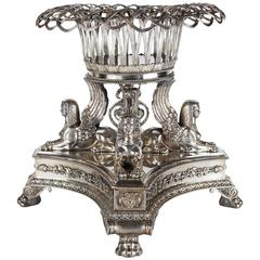 Paul Storr Silver Centrepiece Sterling Antique Sphinx Egyptian, circa 1820