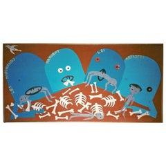 """Art Brut Collage """"Les marchands mangent les artistes"""""""