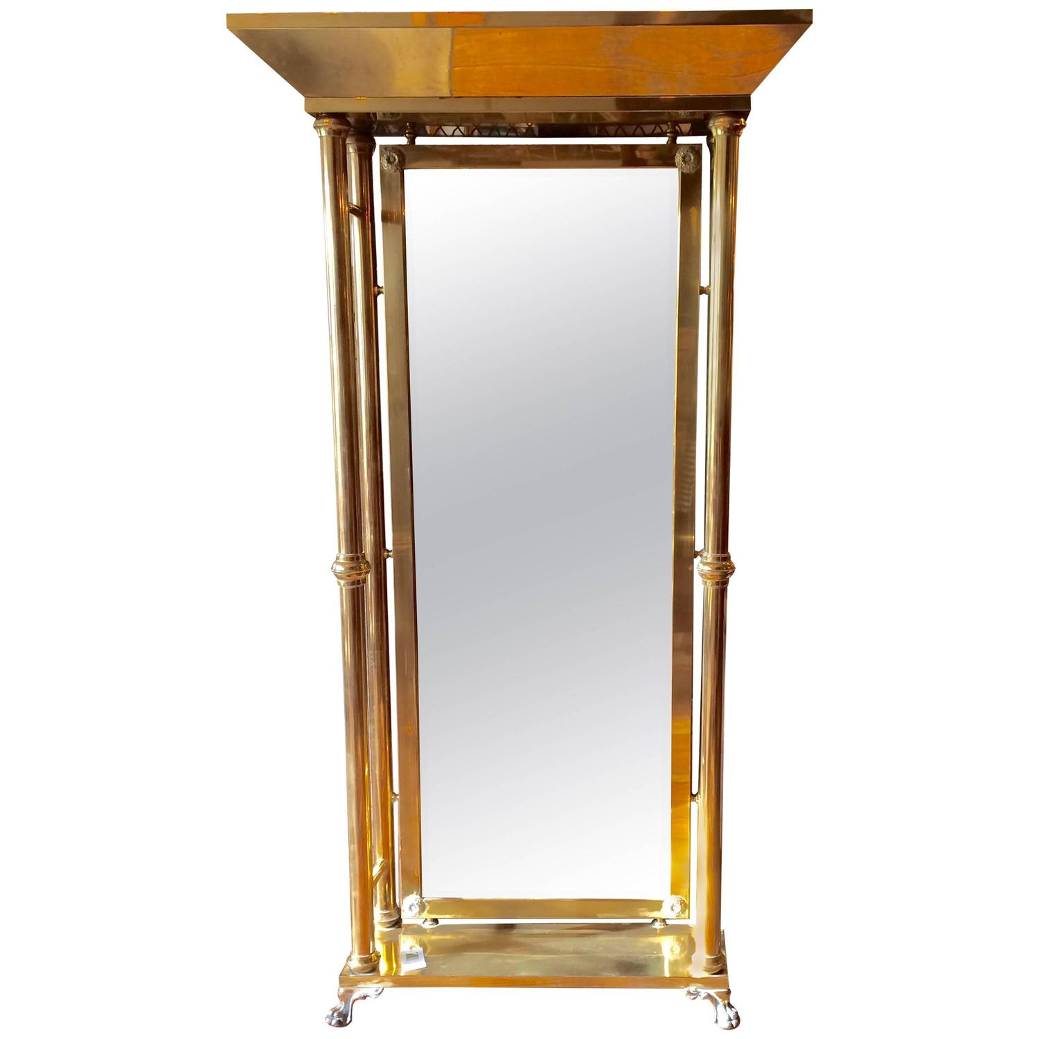 Super tall neoclassical style brass pier mirror for sale for Tall mirrors for sale