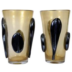 Pair of Vases in Murano Glass Signed by G. Ferro