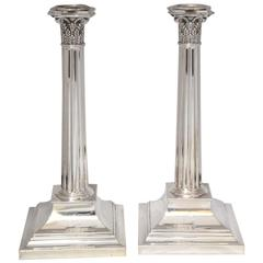 Beautiful Pair of Tiffany Sterling Silver Corinthian Column Candlesticks