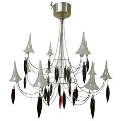"Important Modern Designer ""Plume"" Twelve-Light Chandelier by Baccarat"