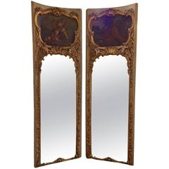 Splendid Pair of Very Tall Antique Mirrored Panels