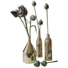 Via Fondazza, Three Large Brass Vases, Design by Paolo Dell'Elce