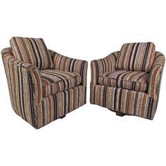 Pair Midcentury Barrel Back Swivel Lounge Chairs