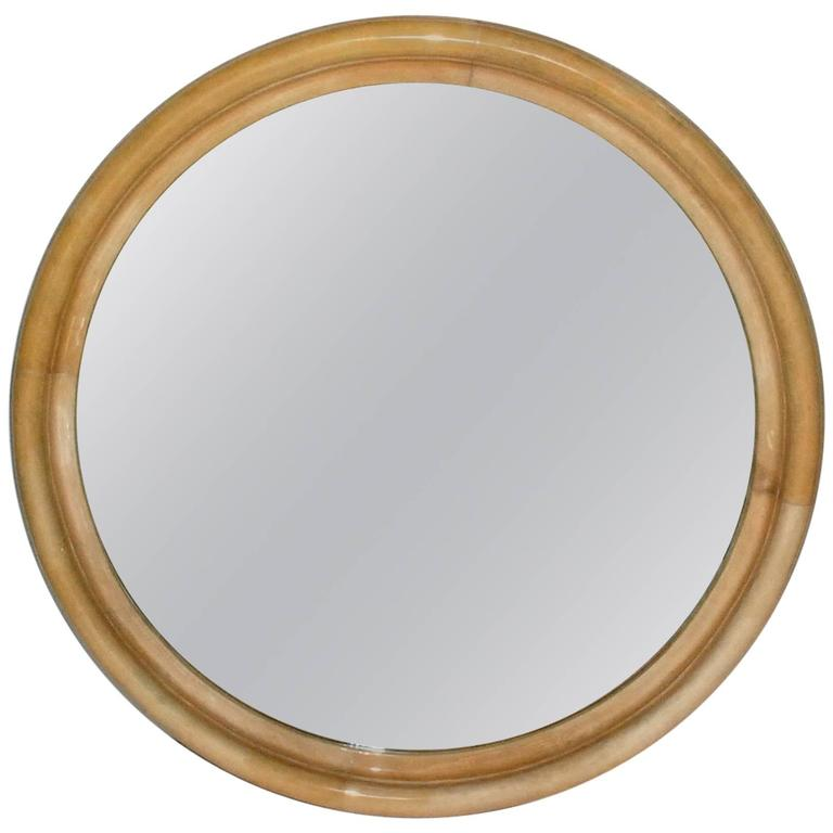 Large parchment round mirror at 1stdibs for Big circle mirror