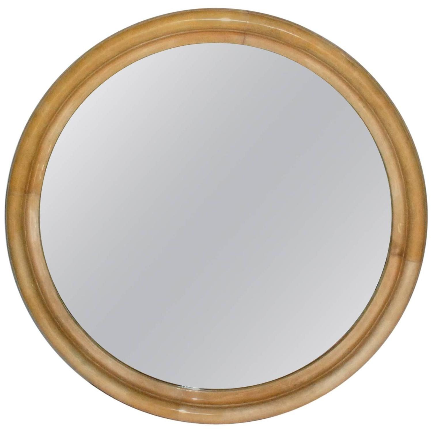 Large parchment round mirror at 1stdibs for Big round mirror
