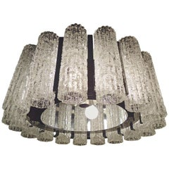 Round Chandelier with Crackle Glass