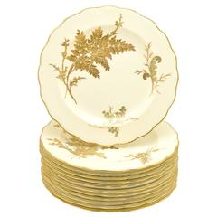 12 Tiffany 19th Century Aesthetic Movement Ivory and Raised Gold Fern Plates