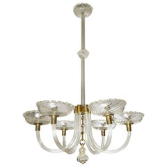 1940s  six arms Murano Glass Chandelier by Barovier