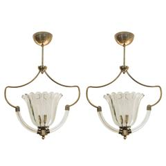 Pair of Mid Century Murano Pendants In the Manner of Barovier