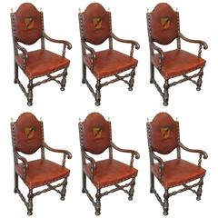 1920s Set of Six Carved French Dining Chairs with Solid Brass Finials and Rivets
