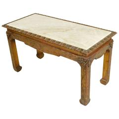 Chinese Chippendale Carved Wood Accent Table with Inset Marble Top
