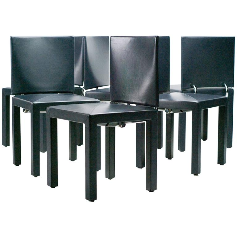 Set of six dark blue arcadia chairs by paolo piva for b b for B b italia dining room chairs
