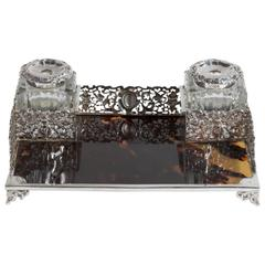 Silver and Tortoise old English Inkstand
