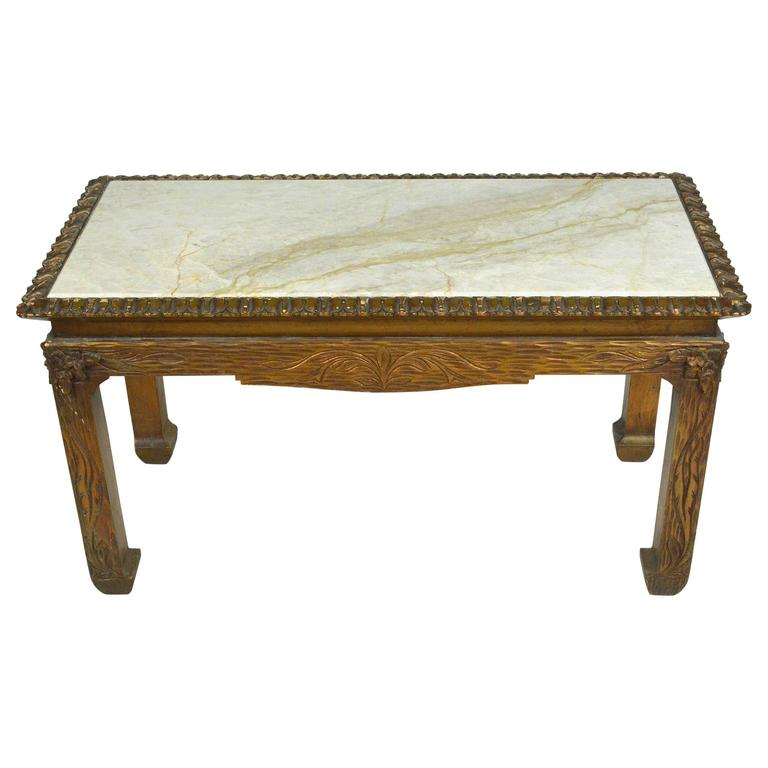 Chinese Chippendale Carved Wood Accent Table with Inset Marble Top For Sale