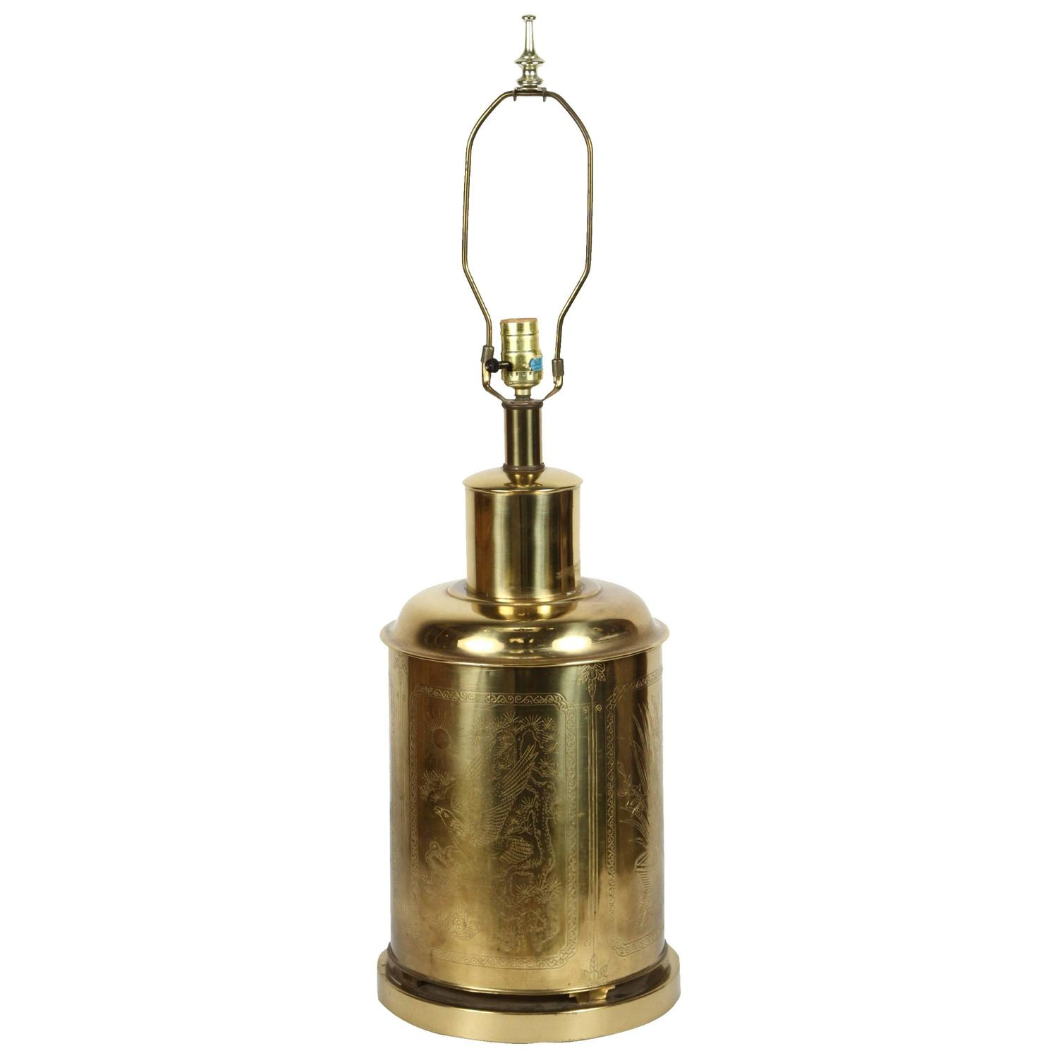 Table lamp vintage style - Chinoiserie Tea Canister Brass Table Lamp