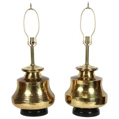 Pair of Polished Moroccan Brass Table Lamps