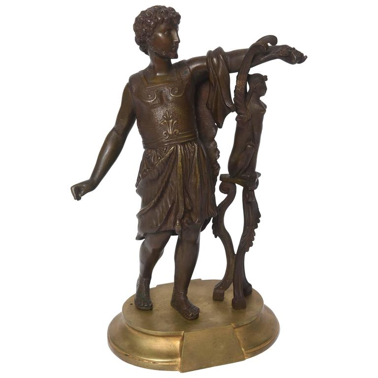 19th Century Bronze Sculpture of the Emperor Hadrian and the Sphinx of Naxos