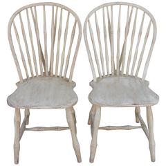 Pair of 19th Century White Painted Windsor Chairs