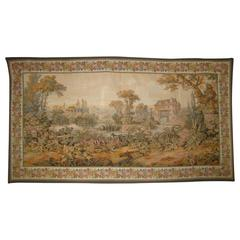 Antique Midcentury Aubusson Style French Tapestry