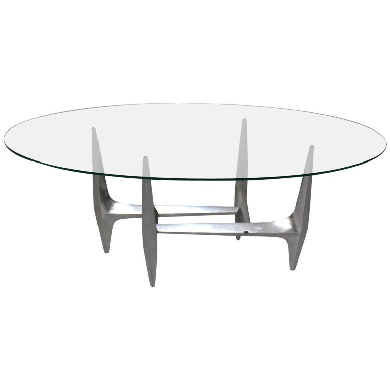 Mid Century Modern Metal Vintage Coffee Table by Knut Hesterberg 1960s For Sale