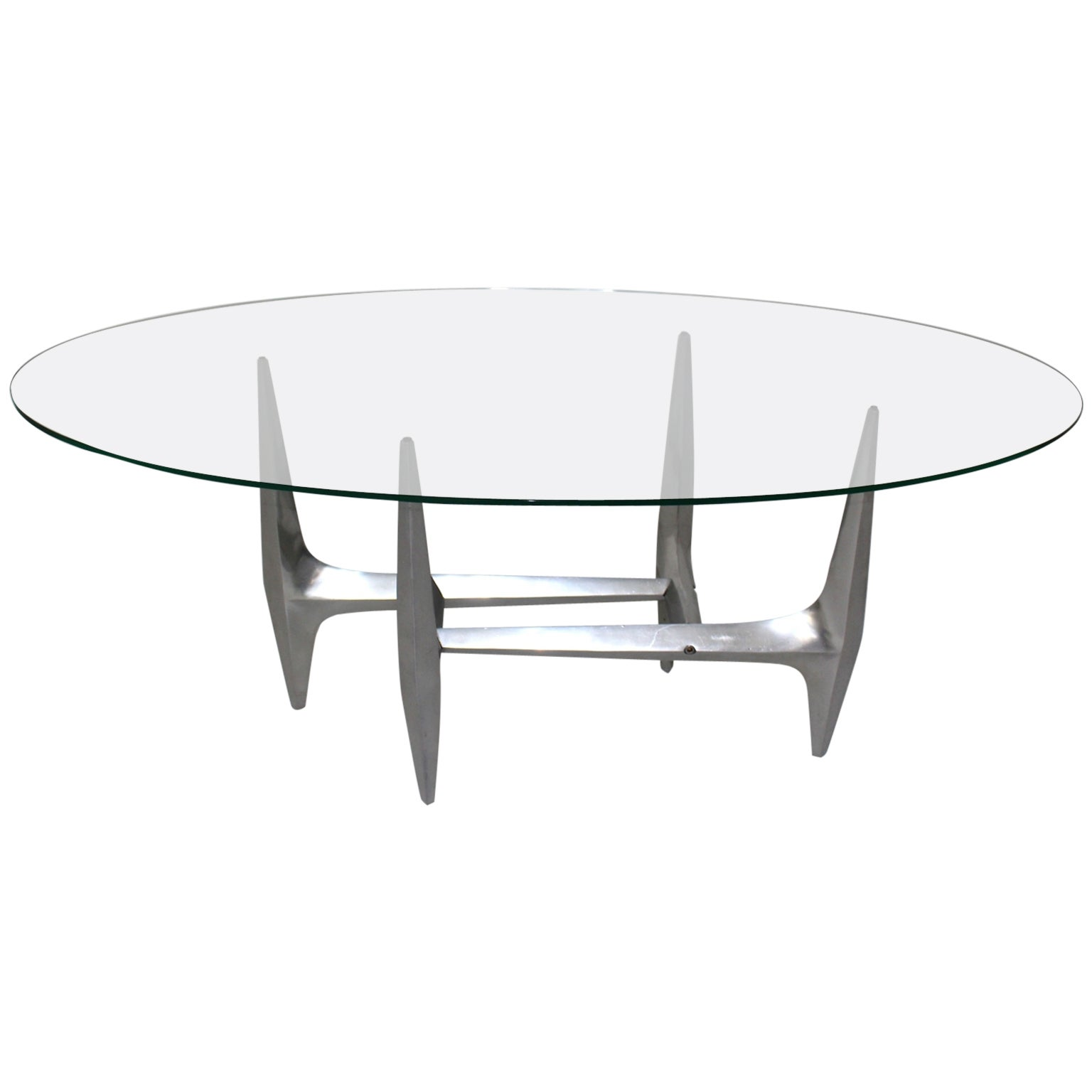 Mid Century Modern Metal Vintage Coffee Table by Knut Hesterberg 1960s