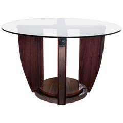 French Art Deco Dining/Center Table in Rosewood and Nickel, Louis Sognot