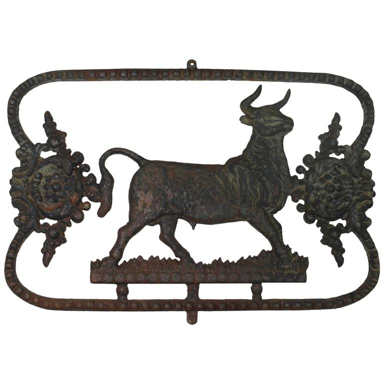 Butcher Sign in Cast Iron, France, 19th Century