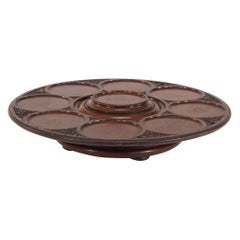 Large Mahogany Footed Lazy Susan with Carved Decoration Nine Framed Indentations