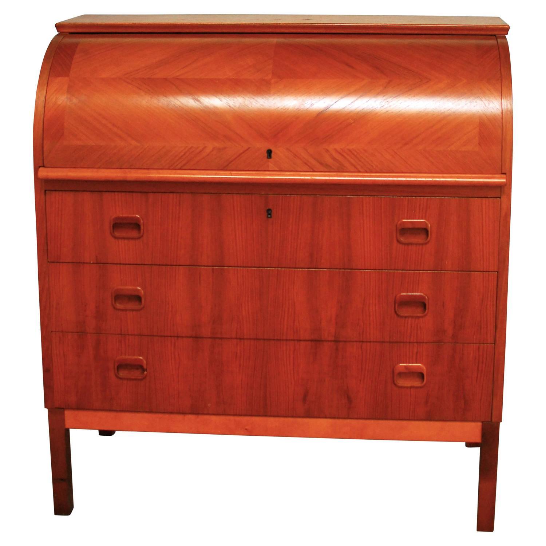 mid century modern danish cylinder roll top desk for sale at 1stdibs. Black Bedroom Furniture Sets. Home Design Ideas